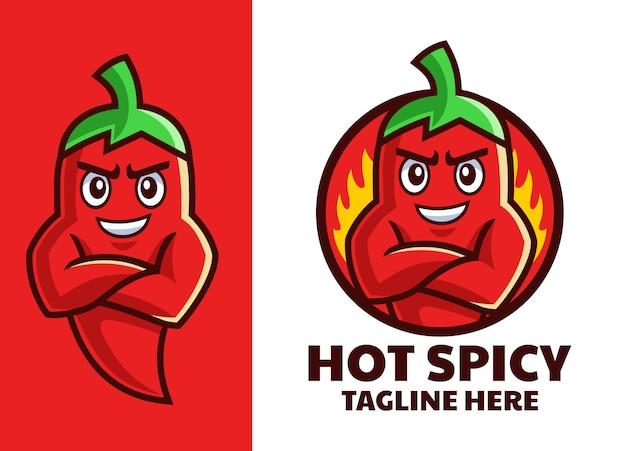 Hot muskulöses chili-maskottchen-logo-design