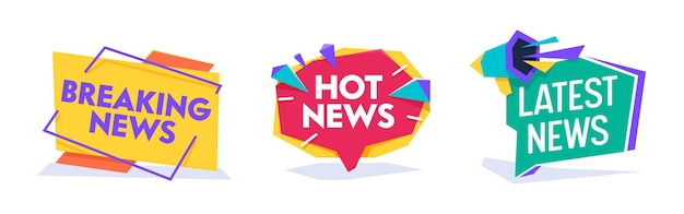 Hot news world breaking reportage-typografie-banner-vorlagen-set. newsletter-abzeichen für die schlagzeile der kommunikationsmedien. informationsnachricht verkünden kreis-plakat-flache karikatur-vektor-illustration