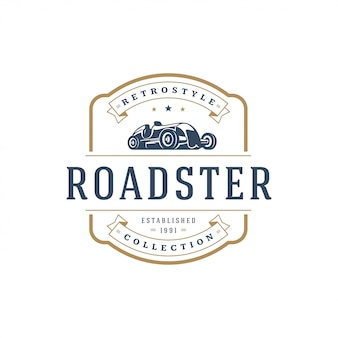 Hot rod auto logo vorlage element vintage-stil