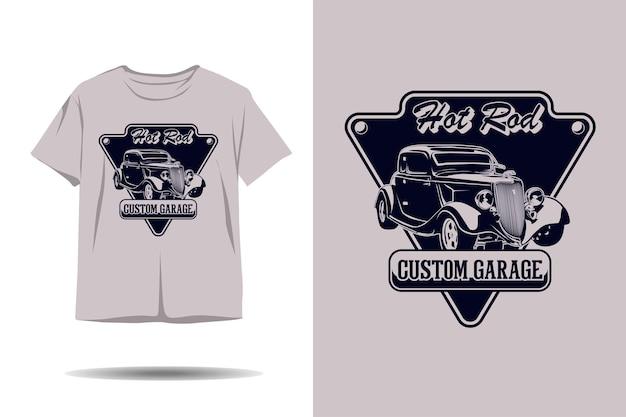 Hot rod benutzerdefinierte garagensilhouette-t-shirt-design