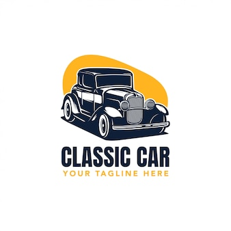 Hot rod classic car-logo, vektor-weinleseillustration