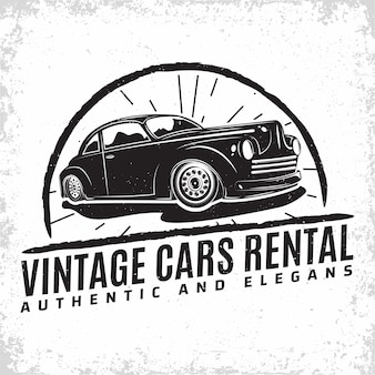 Hot rod garage logo design mit einem emblem der muscle-car-reparatur