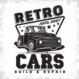 Hot rod garage logo design mit einem emblem der muscle-car-reparatur