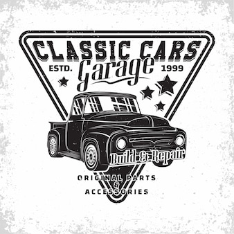Hot rod garage logo, emblem der muscle car reparatur- und serviceorganisation, retro car garage druckstempel, hot rod typografie emblem,