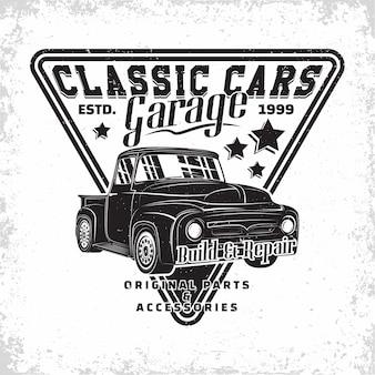 Hot rod garage logo, emblem der muscle car reparatur- und serviceorganisation, retro car garage druckstempel, hot rod typografie emblem,