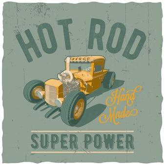Hot rod super power label