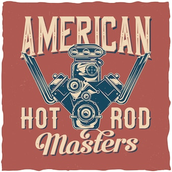 Hot rod thema t-shirt design mit illustration der leistungsstarken motor