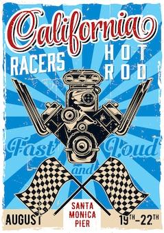Hot rod thema vintage poster design mit illustration der leistungsstarken motor