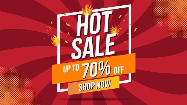Hot sale fire burn vorlage banner konzept design, big sale sonderangebot. saisonende sonderangebot banner shop jetzt. kann für poster, flyer und banner verwendet werden.