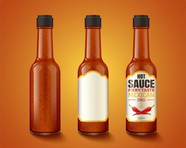 Hot-sauce-produktbehälter und etikettendesign in 3d-darstellung