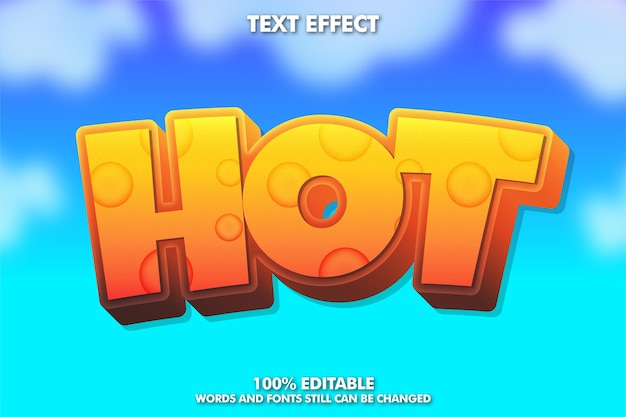 Hot sticker, 3d-cartoon-texteffekt