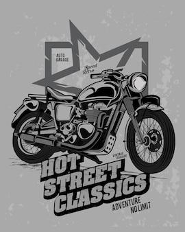 Hot street klassiker, abenteuer motorrad illustration