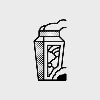 Hot tumbler-logo im memphis-stil für abenteuer-ro-kunst-unternehmen