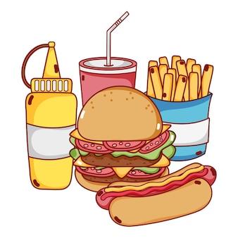 Hotdog-burger-lebensmittelvektor und -getränk