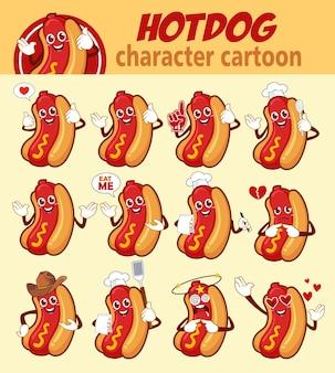 Hotdog essen maskottchen cartoon