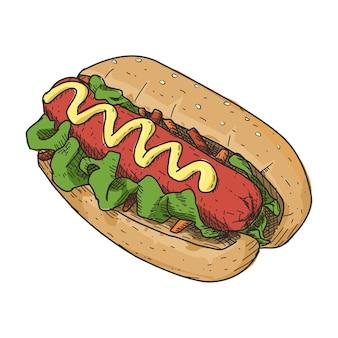 Hotdog im vintage handgezeichneten stil. sofort einsatzbereit.