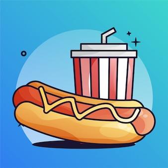 Hotdog mit getränk steigungs-illustration
