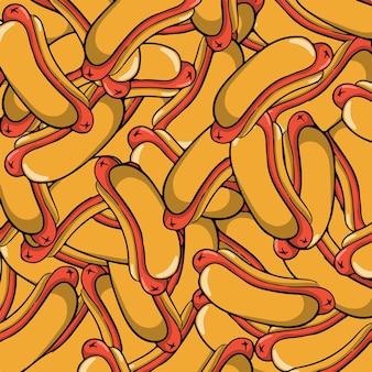 Hotdog-muster-hintergrund-lebensmittel-vektor-illustration