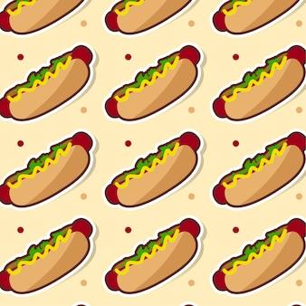 Hotdog-mustervektorillustration