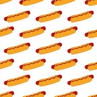 Hotdog-nahtloses muster-hintergrund-vektor-design