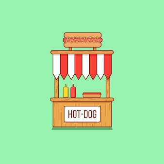 Hotdog-stand in flacher art