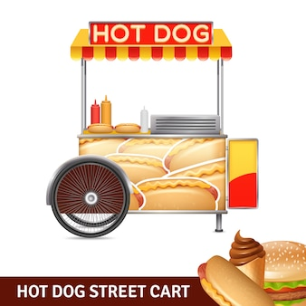Hotdog-straßen-warenkorb-illustration