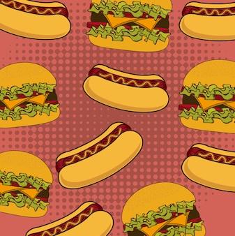 Hotdogkarikatur über roter hintergrundvektorillustration