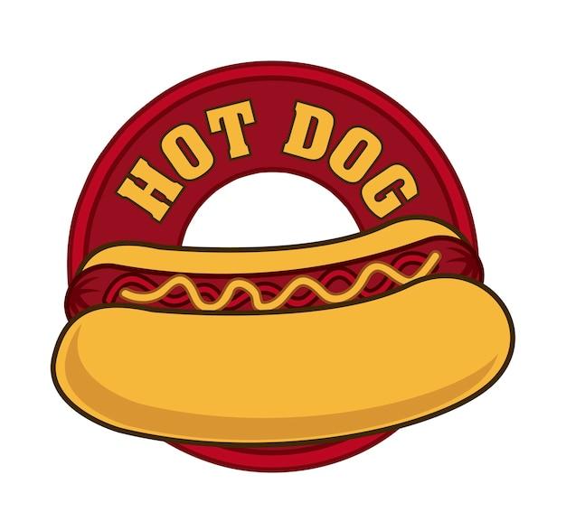 Hotdogzeichen über weißer hintergrundvektorillustration