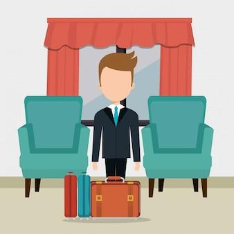 Hotel-berater arbeiten avatar-charakter