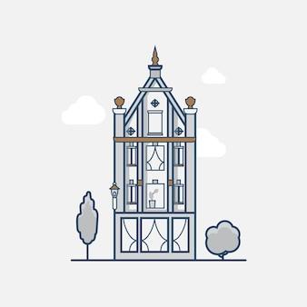 Hotel im gotischen vintage-architekturgebäude. flache stilikonen mit linearem strichumriss. farbige strichzeichnungen-symbolsammlung.