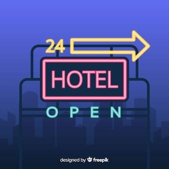 Hotel neonzeichen hintergrund