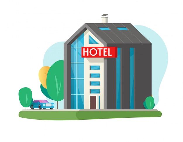 Hotel- oder motelvektorgebäude in der flachen karikaturillustration der stadtstadt lokalisiert auf weißem hintergrund