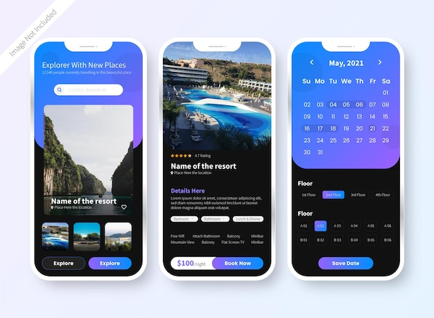 Hotel resort buchung ui mobile app design