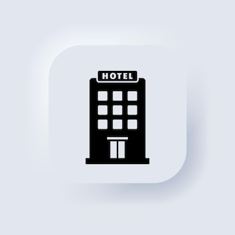 Hotel-symbol. einfaches flaches piktogramm für business, marketing, internet-konzept. trendiges modernes symbol für website- oder mobile app-design. neumorphic ui ux weiße benutzeroberfläche web-schaltfläche. vektor-eps 10.