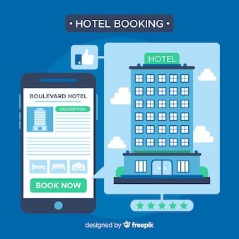 Hotelbuchungskonzept in der flachen art