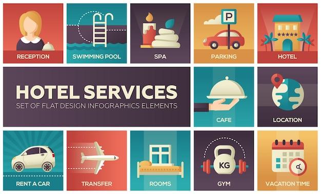Hoteldienstleistungen - set von flachen design-infografik-elementen. rezeption, schwimmbad, parkplatz, spa, café, lage, autovermietung, transfer, zimmer, fitnessraum, urlaubszeit