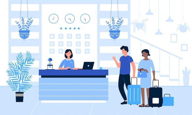Hotelempfangsillustration, karikaturtourist oder reisende, die am schreibtisch im innenraum des bürolobbyraums stehen und mit dem hintergrund der empfangsdame sprechen