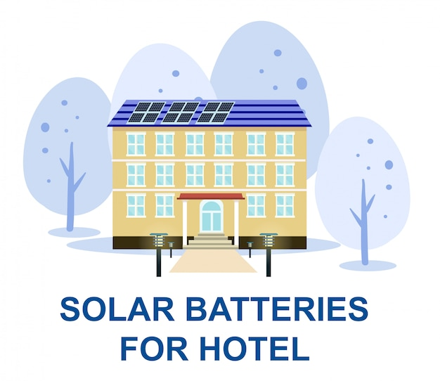 Hotelgebäude mit sonnenkollektor sonnenlicht