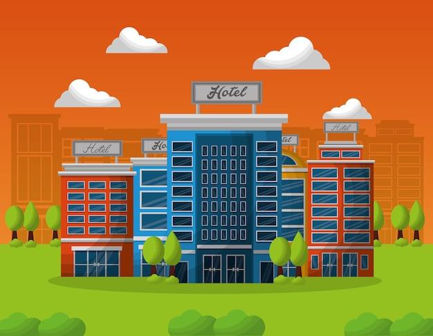 Hotelgebäude-service in der natürlichen landschaft