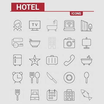 Hotelikonen eingestellter vektor