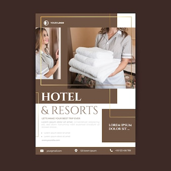 Hotelinformations-flyer-vorlage mit foto