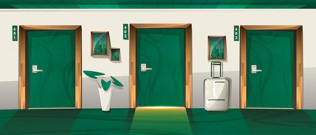Hotelkorridor mit geschlossenen nummerierten türen