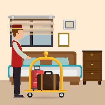 Hotelpage arbeitet im hotelcharakter