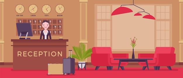 Hotelrezeption in der lobby an der rezeption