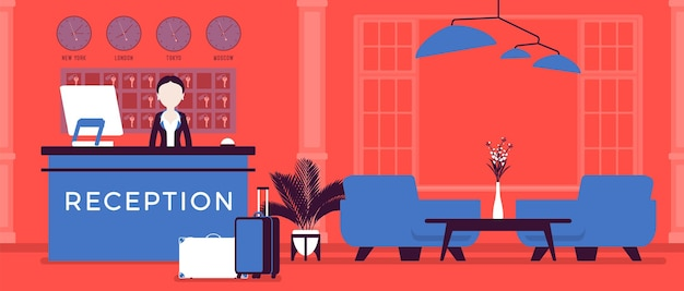 Hotelrezeptionistin in der lobby an der rezeption. frau im empfangsbereich, grüßt und beschäftigt sich mit kunden, stadtbesuchern, interieur, service für reisende, touristen. vektorillustration, gesichtslose charaktere