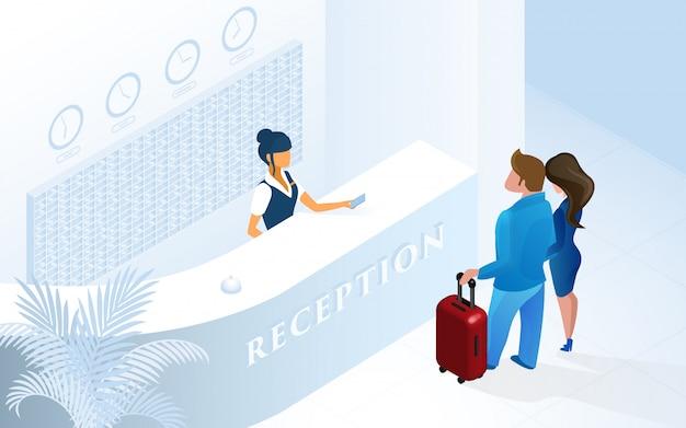 Hotelrezeptions-frauen-empfangsdame am zähler