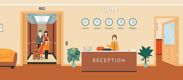Hotelrezeptionstheke mit illustration der rezeptionistin