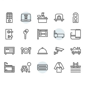 Hotelservice-ikone und symbol eingestellt in entwurf
