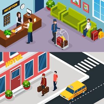 Hotelservice isometrische banner-set