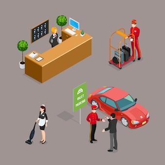 Hotelservice-isometrische ikonen eingestellt